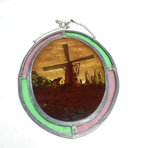 Vintage stained glass farmhouse window hanging